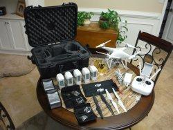 DJI Phantom 4, military grade case, 5 intelligent flight batteries (2 new), accessories Image
