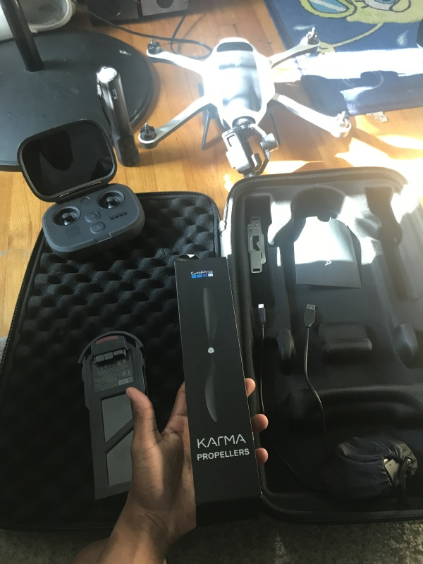 GoPro Karma Drone , Flewn about 4 times, don't need still in new condition everything included, stabilizer, go pro, water proof case for camera, extra propellors, all the cords, sd adapters. Brand New Drone man Image #1