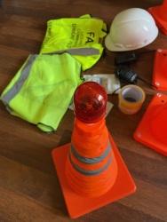 Drone Setup Safety Kit | Hi-Visibility Safety Vest | Hard Hat | Reflective Cones Image #2