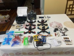 FPV Drone Lot (4) Drones, FPV Goggles, Frsky Transmitter plus Extra's Image
