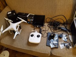 Phantom II w Black Pearl FPV, Two Zenmuse H3-3D Gimbals, Case, GoPro, 5.8G Downlink, Etc. Image